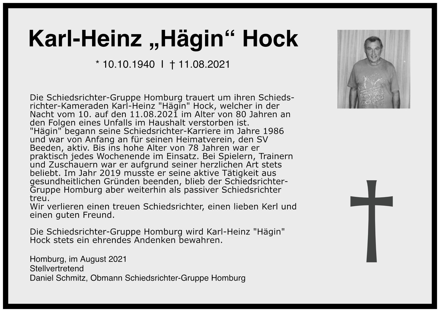 Traueranzeige Karl-Heinz Hock